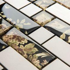 Black art glass mosaic kitchen wall tiles SSMT128 silver metal stainless steel glass mosaic tiles backsplash kitchen mosaic tile [SSMT128] - $22.07 : MyBuildingShop.com
