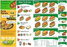 joojaebum - Pixel Art Menu (SUBWAY sandwich) Subway Sandwich, Sandwich Menu, Sandwich Platter, Sandwich Recipes, Pixel Art, Diner Menu, Chicken Slices, Food Menu Design, Recipes