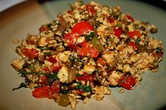 Try this delicious Tofu Scramble - Mexican style! Check out this great technique used to alter the texture of tofu, making it perfect for this dish!