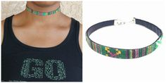 Green Leather Bohemian Choker Necklace