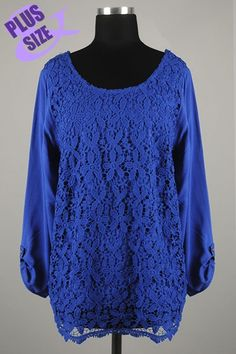 *** New Style *** Girly Lightweight Drop Waist Blouse with Round Neckline Featuring Floral Crochet Contrast.