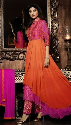 Shilpa Shetty, Pink Orange Poly Georgette Resham Embroidered Beautiful Long Anarkali Suit With Chiff