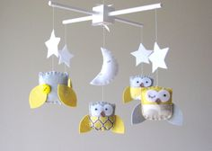 Baby Crib Mobile - Baby Mobile - Yellow and Gray Baby Mobile - Owl Mobile - Neutral Mobile