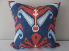 This John Robshaw Sulu American Beauty Fabric For Decorative Pillow Covers By Pillow Time Girls is a Stunning Modern Accent Pillow, that Red Throw Pillows, Ikat Pillows, Toss Pillows, Modern Decorative Pillows, Decorative Pillow Covers, Blue Pillow Covers, Ikat Fabric, Patriotic Decorations, Red And Blue