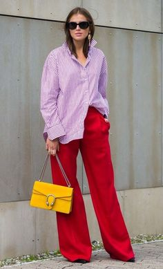 Wide leg trousers an