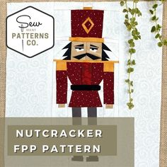 Do you know a nutcracker enthusiast who seems to have EVERYTHING? Or do you want to spruce up your home with Christmas décor that cannot be found at the store? Look no further! This is a foundation paper pieced pattern (FPP) block of a Christmas NutCracker would look fantastic as a throw pillow, a