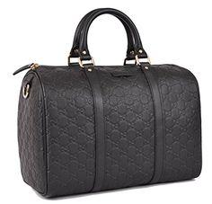 GUCCI 265697 Women's Black Leather GG Guccissima Boston Purse HandBag O/S