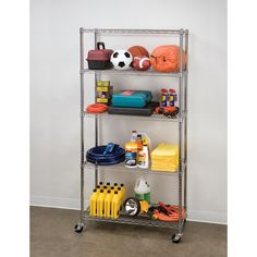The Seville Classics 5-Shelf UltraZinc™ Wire Shelving System is a great storage solution for any home, office, garage or restaurant. This NSF certified shelving system is constructed of ultra durable zinc-plated steel and comes with the option of installing commercial 3-inch wheels or using the leveling feet that are included. When using wheels, it has a shelf capacity of no more than 100 lbs per shelf. When using leveling feet, the capacity increases to 500 lbs per shelf. SHE18370BZ $99.99