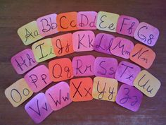 Watercolor Vimala Alphabet Cards.  Make the cards larger and place the beautiful affirmation that goes with for each letter below.  Then hang high on wall.