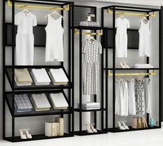 Clothing store display rack floor type men's and women's clothing shelf display rack new combination side hang. Boutique Interior, Clothing Store Interior, Clothing Store Displays, Clothing Store Design, Boutique Decor, Women's Clothing, Hanging Clothes Racks, Clothes Shelves, Shelf Furniture