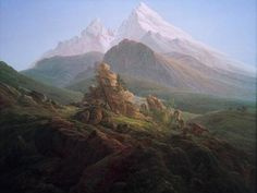 Caspar David Friedrich, Der Watzmann, c. oil on canvas, Alte Nationalgalerie, Berlin. A tribute to his recently deceased friend August Heinrich. C D Friedrich, Landscape Art, Landscape Paintings, Caspar David Friedrich Paintings, Casper David, Artist Birthday, Art Moderne, Homeopathy, Famous Artists
