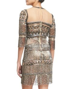 W0AHB Naeem Khan 3/4-Sleeve Embroidered Fringe Cocktail Dress, Gunmetal
