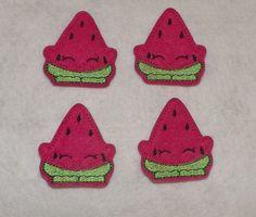 Feltie Machine Embroidered Hand made (4) Felt Watermelon Shopkins CUT Embellishments / appliques