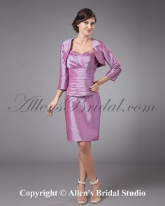 mother of the bride dresses with jackets | ... Sweetheart Knee-Length Sheath Mother Of The Bride Dress with Jacket