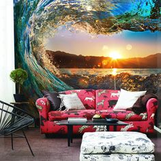 Modern Large Photo Murals Wall Wallpapers 3D Stereo Sunset Sundown Landscape Living Room Coffee Wall Background Import Wallpaper