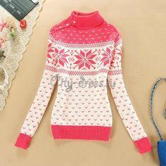Розовый свитер со снежинками