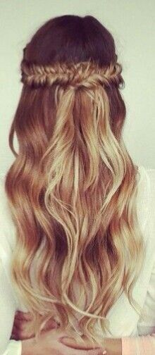 Wavy balayage half up half down fishtail braids #gorgeoushair
