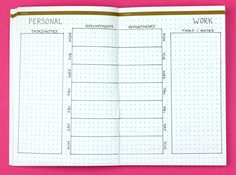Split Personality; Weekly Bullet Journal Layouts   pageflutter.com