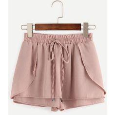 Pink Drawstring Waist Wrap Shorts ($25) ❤ liked on Polyvore featuring shorts, bottoms, loose shorts, summer shorts, patterned shorts, print shorts and wrap shorts