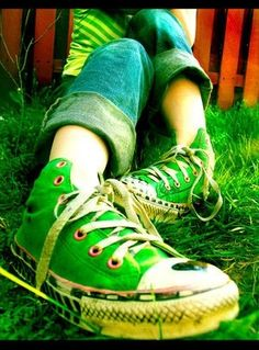 Green grass colored Converse all my cons were drawn on with different patterns. hearts, stars, squares and the like drawn all over the white parts of all of my converse. Green Converse, Converse All Star, Converse Shoes, Rainbow Converse, Colored Converse, Cheap Converse, Go Green, Green Colors, Green Grass