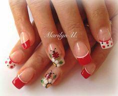 Long Nail Art, New Nail Art, French Nail Art, French Tip Nails, Toe Nail Designs, Nail Polish Designs, Cute Nails, Pretty Nails, Ladybug Nails