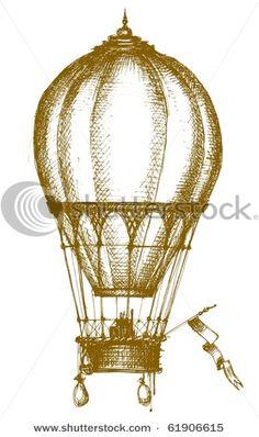 Vintage vector hot air balloon