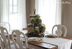 Such a pretty dining room. I really liked the tiered stand and found it on Mythology.com. Picture of dining room is from Dearlillie.blogspot.com