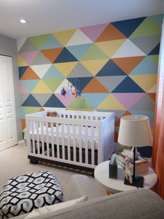 Accent Wall Inspired by Cold Play's Mylo Xyloto Album - what a fab triangle accent wall!