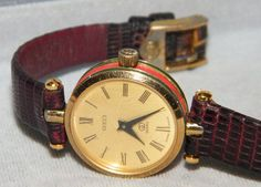 72b8fa1ceb3 Vintage 80s Gucci Stacked Red   Green 18K Gold Plated Watch w Brown Leather  Band Gucci