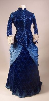 Beautiful late Victorian gown... The shades of blue are wonderful.