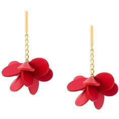 Marni flower drop earrings (1.800 RON) ❤ liked on Polyvore featuring jewelry, earrings, red, red jewelry, flower earrings, marni, post drop earrings and earring jewelry