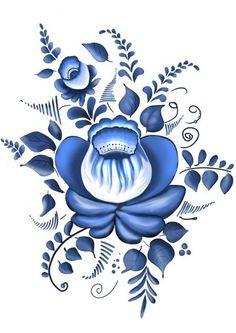 Folk Gzhel painting from Russia. Folk Gzhel painting from Russia. This image has. China Painting, Tole Painting, Fabric Painting, Embroidery Flowers Pattern, Folk Embroidery, Folk Art Flowers, Flower Art, Norwegian Rosemaling, Russian Folk Art