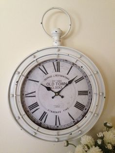 Large Metal White Wall Clock*Coastal/Beach/French Provincial Railway Style