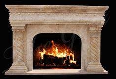 thegatz - Wonderful Hand Carved Travertine Marble Fireplace Mantel with Barley Twist Design, $3,750.00 (http://www.thegatz.com/wonderful-hand-carved-travertine-marble-fireplace-mantel-with-barley-twist-design/)