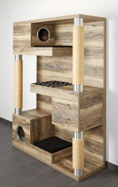 Cats Toys Ideas - If there was a cat tower that could do it all while looking ultra hip in your home – surely it has to be this! The Catframe combines a contemporary wood cat tree, sisal rope scratching posts,… - Ideal toys for small cats Armoire Palettes, Diy Cat Tree, Cool Cat Trees, Wood Cat, Wooden Cat Tree, Wooden Cat House, Wood Tree, Pallet Cabinet, Palette Diy