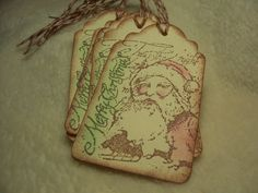 Items similar to Christmas Piece Set of Very Lovely Merry Santa Vintage Inspired Scrapbooking/Gift Tags on Etsy Christmas Sentiments, Christmas Tag, Very Lovely, Beautiful, Text Background, Handmade Tags, Bakers Twine, White Ink, Hand Stamped