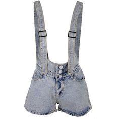 Anna Kaci S/M Fit Blue Denim Adjustable Straps Front N Back Pocketed... ($16) ❤ liked on Polyvore featuring shorts, denim overalls shorts, overalls shorts, short overalls, bib overall shorts and denim bib overall shorts
