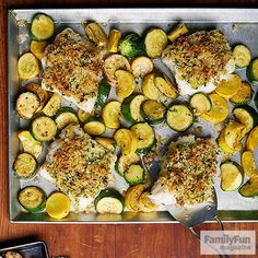 Parmesan-Crusted Cod with Garlicky Summer Squash  Make It  1.Heat oven to 350 degrees with a rack in the center position.  2.Toss together the zucchini, squash, garlic, and 2 tbsp. olive oil on a rimmed baking sheet. Season with salt and pepper and spread the ingredients evenly, leaving space for the fish. Place the fish on the pan and season with salt and pepper.  3.In a small bowl, combine the panko, Parmesan, parsley, remaining olive oil, and a pinch of salt. Press the mixture onto the…
