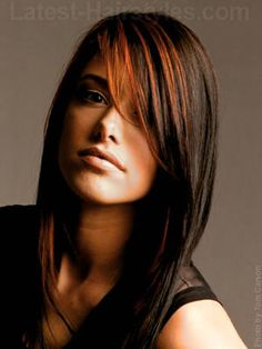 Love the dark hair and red highlights.