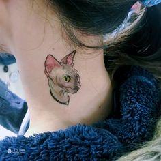 Watercolor Sphynx Cat Tattoo