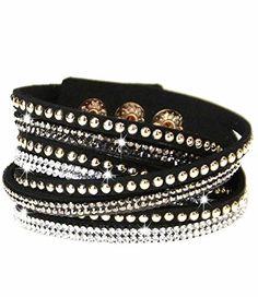 caripe Damen Armband Wickelarmband Glitzer Steine viele Designs + Farben - strala (Modell 2 - schwarz) - http://schmuckhaus.online/caripe/modell-2-schwarz-caripe-damen-armband-glitzer