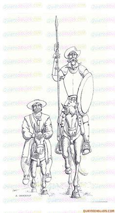 dibujos-quijote-sancho-panza. Picasso Don Quixote, Man Of La Mancha, Dom Quixote, Drawing Sketches, Drawings, Sketching, Impossible Dream, Gustave Dore, Wood Burning Art