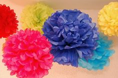 Sew Sweet Stitches' Handmade Tissue Paper Flowers and Pompom Garland