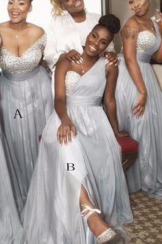 Sweetheart Sleeveless Sweep Train Beading One Shoulder Bridesmaid Dress B447 2e3885df4e26