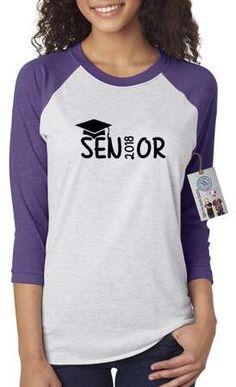 Custom Apparel R Us Graduation Cap Senior Class of 2018 High School College Womens 3/4 Raglan Sleeve T-Shirt Top