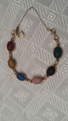 1960's Vintage 7 Scarab Bracelet by 3LittleWitches on Etsy