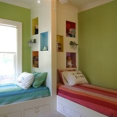 I love this idea for kids that share a room. The headboards allow for storage and privacy.