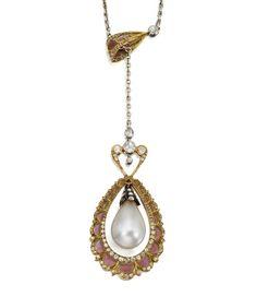 Pearl, Plique-à-Jour Enamel and Diamond Pendant-Necklace, French, Circa 1900