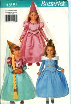 Little Princesses! Butterick Girls Princess Queen Conical Hat Veil Costume Pattern 4599 UNCUT FF