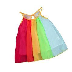 cfda12ec0 Voberry Kids Baby Girl Toddler Princess Sleeveless Chiffon Tutu Rainbow  Dresses Rainbow Dress Girl, Rainbow
